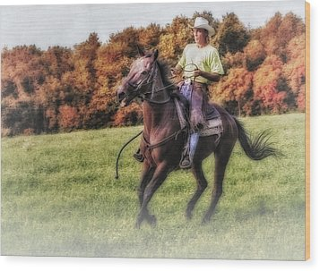Wrangler And Horse Wood Print by Susan Candelario