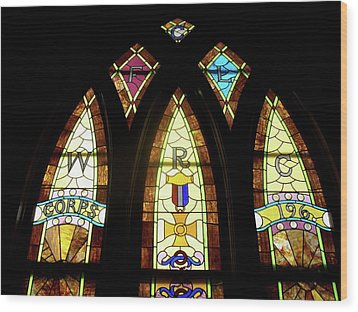 Wrc Stained Glass Window Wood Print by Thomas Woolworth