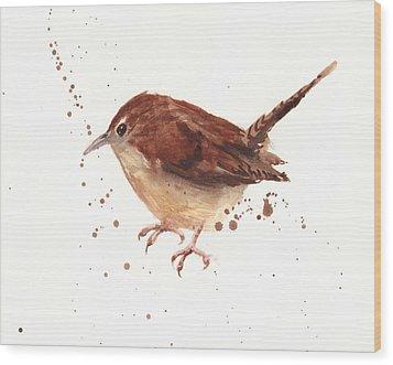 Wren Watercolor Wood Print by Alison Fennell