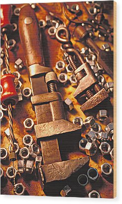 Wrench Tools And Nuts Wood Print by Garry Gay