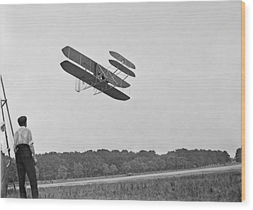 Wrights Airplane In Army Trial Flights Wood Print by Everett