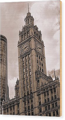 Wrigley Clock Tower Wood Print