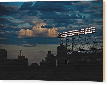 Wrigley Field Light Stand Wood Print