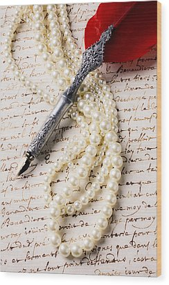 Writing Pen And Perals  Wood Print by Garry Gay