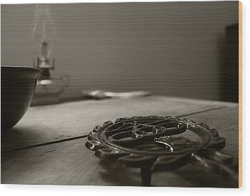 Wrought Iron Trivet Wood Print by Scott Hovind