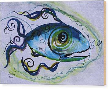 Wtfish 009 Wood Print by J Vincent Scarpace