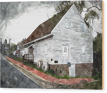 Wye Mill - Water Color Effect Wood Print by Brian Wallace