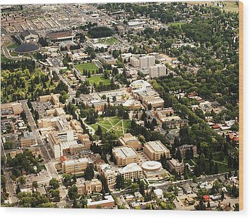 Wyoming Campus Aerial Wood Print by University of Wyoming
