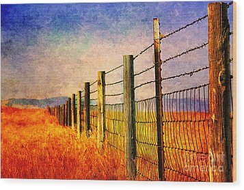 Wyoming Fences Wood Print by Billie-Jo Miller