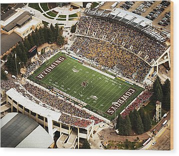 Wyoming War Memorial Stadium Wood Print by University of Wyoming