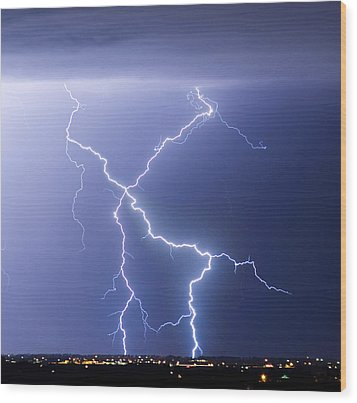 X Lightning Bolt In The Sky Wood Print by James BO  Insogna