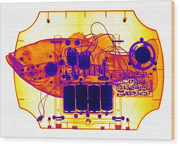 X-ray Of Mechanical Fish Wood Print by Ted Kinsman
