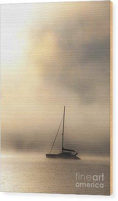 Yacht In Mist Wood Print by Avalon Fine Art Photography