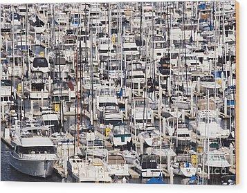 Yacht Marina Wood Print by Jeremy Woodhouse