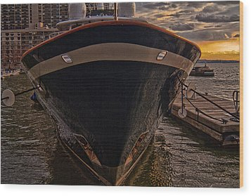 Yacht On The Sunset Wood Print by Alex AG