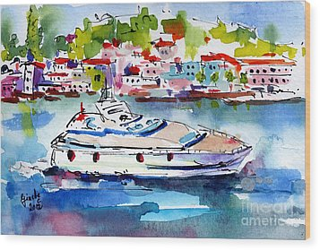 Yachting Off The Coast Of Amalfi Italy Watercolor Wood Print by Ginette Callaway