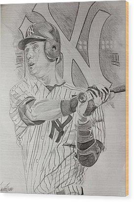 Yankee Pride Derek Jeter  Wood Print by Keith Evans