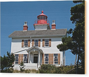 Yaquina Bay Lighthouse Wood Print by Nick Kloepping