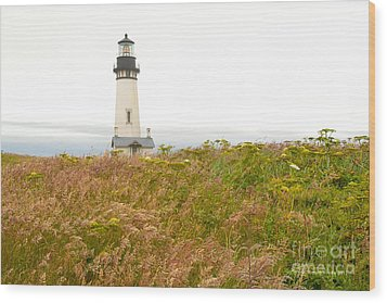 Wood Print featuring the photograph Yaquina Head Lighthouse In Oregon by Artist and Photographer Laura Wrede