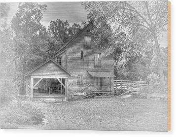 Yates Mill Black And White Wood Print by Joe Granita