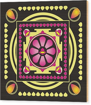 Yellow And Pink Mandala Wood Print by Steeve Dubois