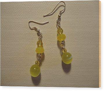 Yellow Ball Drop Earrings Wood Print by Jenna Green