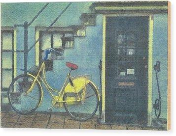 Yellow Bike Wood Print