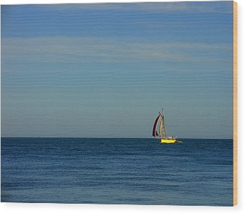Yellow Boat On The Horizon Wood Print