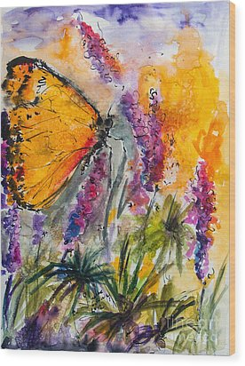 Yellow Butterfly On Lupines Wood Print by Ginette Callaway