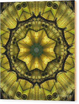 Yellow Butterfly Wing Kaleidoscope Mandala Wood Print by Janeen Wassink Searles