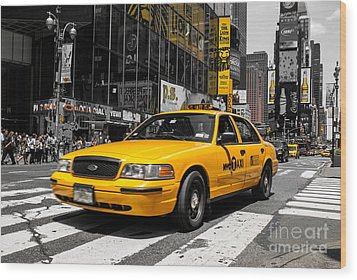 Yellow Cab At The  Times Square Wood Print by Hannes Cmarits