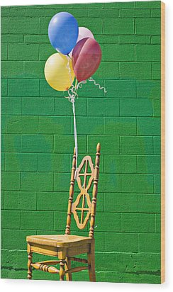 Yellow Cahir With Balloons Wood Print by Garry Gay
