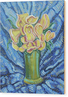 Yellow Callas Wood Print by John Keaton