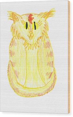 Yellow Cat Wood Print by Jeannie Atwater Jordan Allen