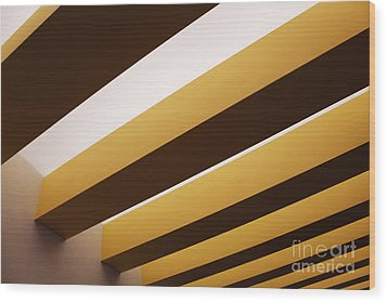 Yellow Ceiling Beams Wood Print by Jeremy Woodhouse