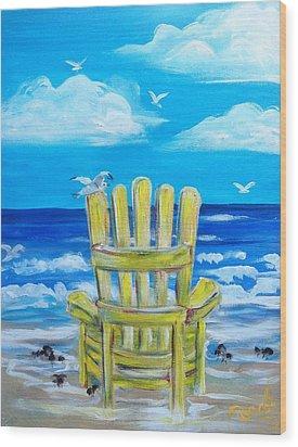 Yellow Chair Wood Print by Doralynn Lowe