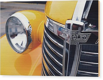 Yellow Chevy Wood Print by Steven Milner