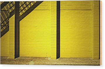 Yellow City Scene Wood Print by Tom Bush IV