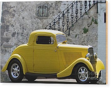 Yellow Coupe Hardtop Wood Print by Jerry L Barrett