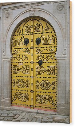 Wood Print featuring the photograph Yellow Door In Bardo by Laurel Talabere