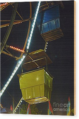 Wood Print featuring the photograph Yellow Ferris Wheel Bucket by Renee Trenholm
