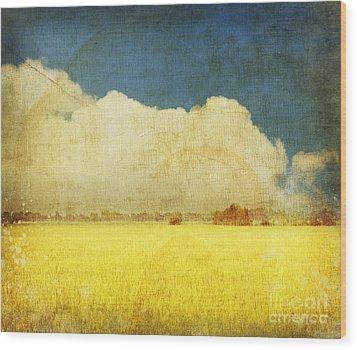 Yellow Field Wood Print by Setsiri Silapasuwanchai