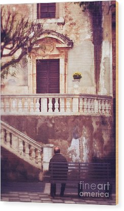 Yellow Flowers In A Vase In Taormina Sicily Wood Print by Silvia Ganora