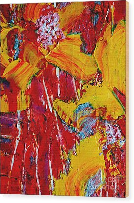 Yellow Flowers On Red Wood Print
