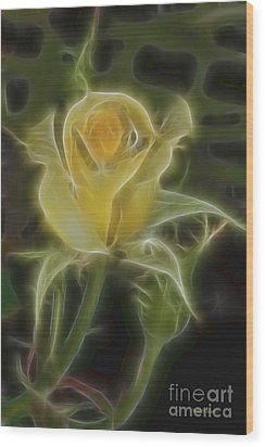 Yellow Fractalius Rose Wood Print by Deborah Benoit