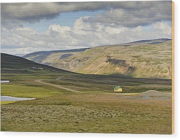 Wood Print featuring the photograph Yellow House In Iceland Landscape by Marianne Campolongo