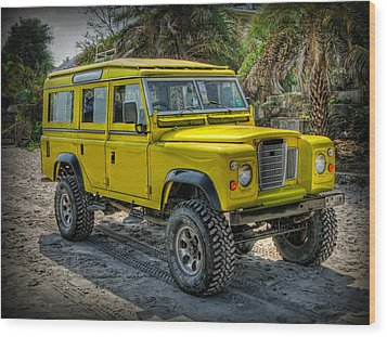 Yellow Jeep Wood Print by Adrian Evans