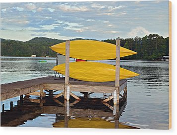 Yellow Kayaks Wood Print by Susan Leggett