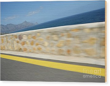 Yellow Line On A Coastal Road By Sea Wood Print by Sami Sarkis