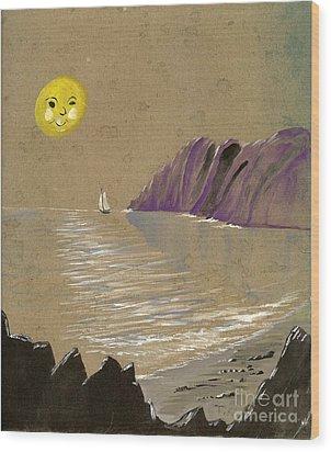 Yellow Moon Watch Wood Print